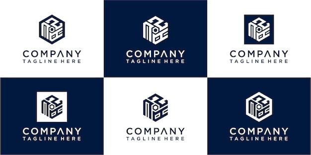 Conjunto de design de logotipo de monograma hexágono criativo