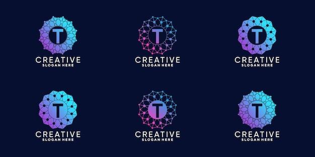 Conjunto de design de logotipo de monograma para a letra t inicial de tecnologia com arte de linha e estilo de ponto