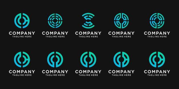 Conjunto de design de logotipo de monograma para negócios