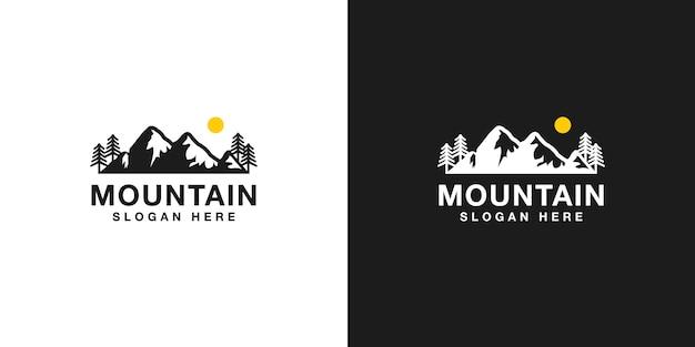 Conjunto de design de logotipo de montanha