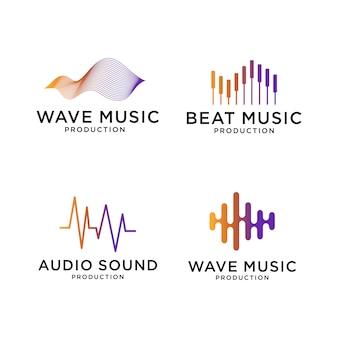 Conjunto de design de logotipo de música wave