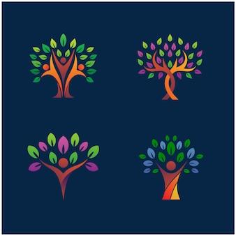 Conjunto de design de logotipo de natureza de árvore