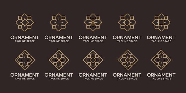 Conjunto de design de logotipo de ornamento. linha do logotipo da flor preta e dourada