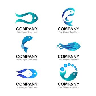 Conjunto de design de logotipo de peixe