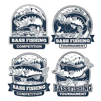 Conjunto de design de logotipo de pesca de robalo