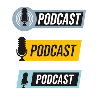 Conjunto de design de logotipo de podcast