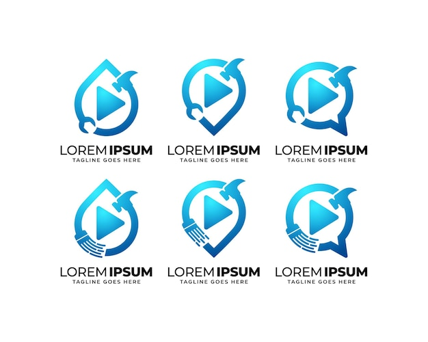 Conjunto de design de logotipo de serviço de reparo e manutenção