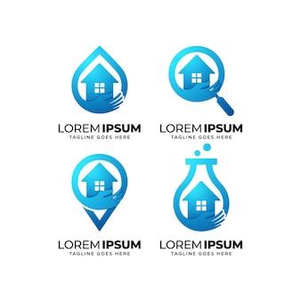 Conjunto de design de logotipo de serviços de atendimento domiciliar