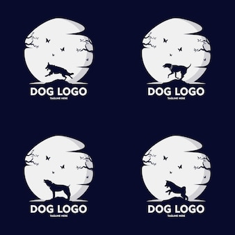 Conjunto de design de logotipo de silhueta de cachorro