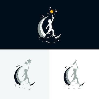 Conjunto de design de logotipo de sonho de crianças
