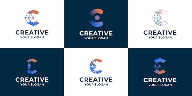Conjunto de design de logotipo de tecnologia criativa letra c