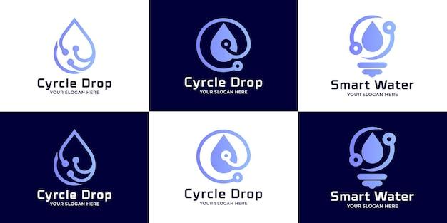Conjunto de design de logotipo de tecnologia de água