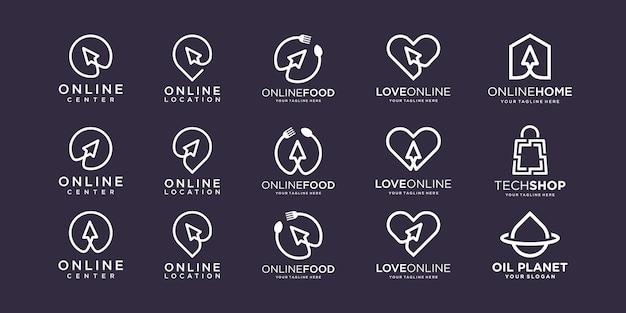 Conjunto de design de logotipo de tecnologia de cursor