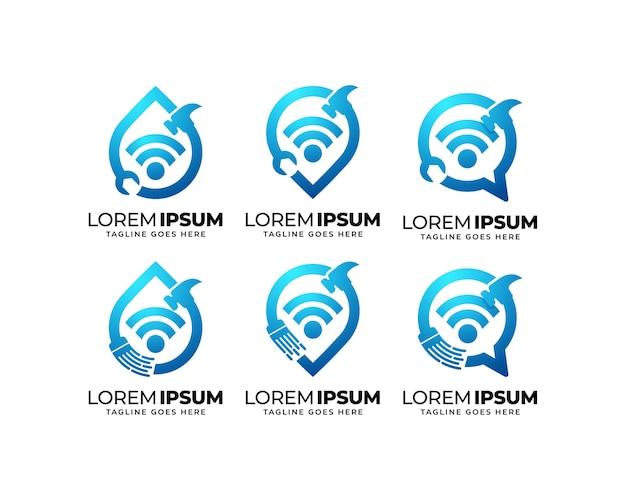 Conjunto de design de logotipo de tecnologia de reparo