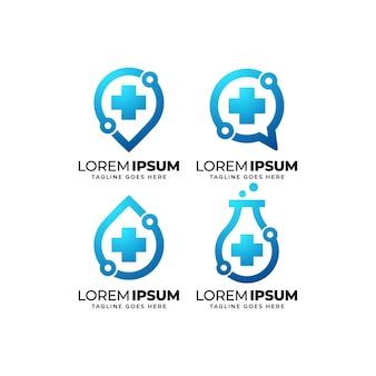 Conjunto de design de logotipo de tecnologia de saúde