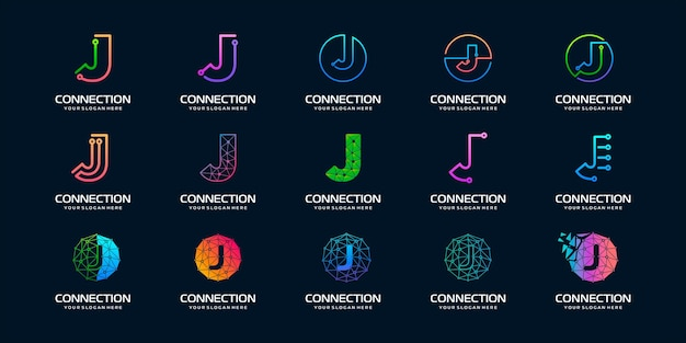 Conjunto de design de logotipo de tecnologia digital moderna letra j criativa.