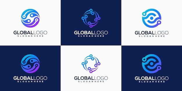 Conjunto de design de logotipo de tecnologia global gradiente