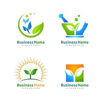 Conjunto de design de logotipo de vetor de aplicação ecologia de folha