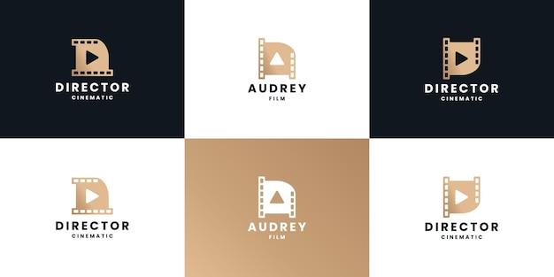Conjunto de design de logotipo de vídeo de clipe de carta