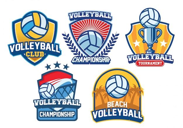 Conjunto de design de logotipo de vôlei