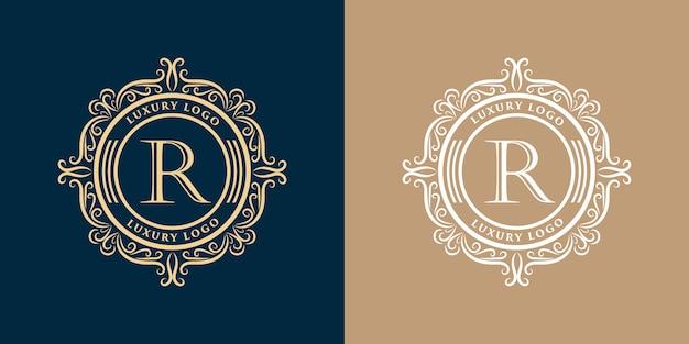 Conjunto de design de logotipo decorativo floral luxo monograma vintage de ouro