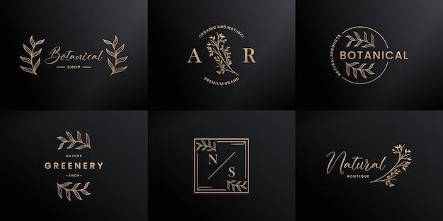 Conjunto de design de logotipo desenhado à mão de luxo para marcas naturais,