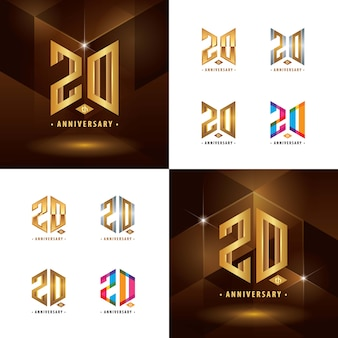 Conjunto de design de logotipo do 20º aniversário