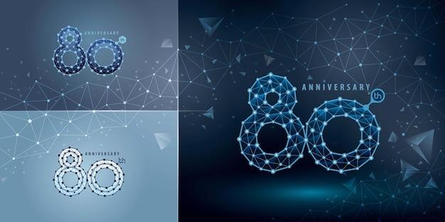 Conjunto de design de logotipo do 80º aniversário oitenta anos comemorando o aniversário logotipo resumo logotipo da connect dots tech number