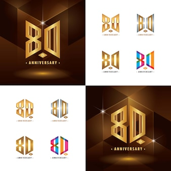Conjunto de design de logotipo do 80º aniversário