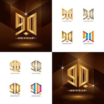 Conjunto de design de logotipo do 90º aniversário