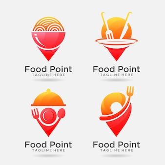 Conjunto de design de logotipo do food point