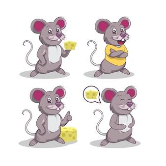 Conjunto de design de logotipo do grupo mascote do rato fofo