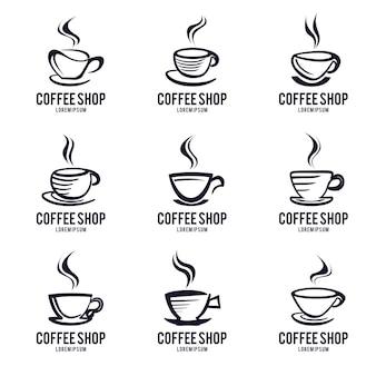 Conjunto de design de logotipo do ícone de copo de café