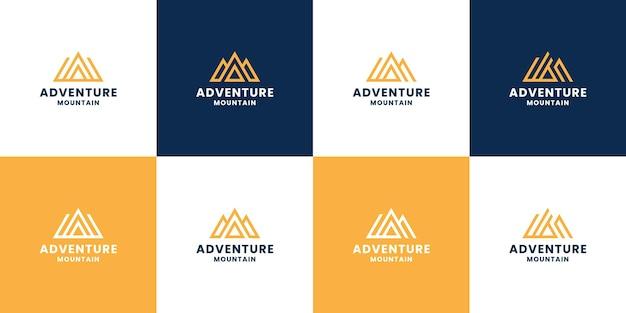 Conjunto de design de logotipo do monograma de aventura na montanha com a letra a combinar