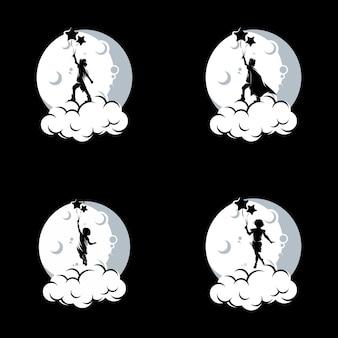 Conjunto de design de logotipo dos sonhos de crianças