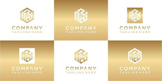 Conjunto de design de logotipo dourado com monograma hexágono criativo