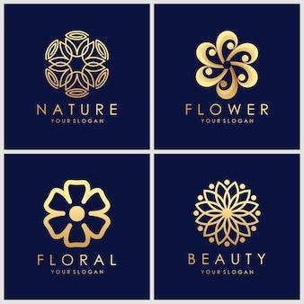 Conjunto de design de logotipo dourado minimalista flor elegante. inspiração de design de logotipo de cosméticos, ioga e spa.