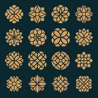 Conjunto de design de logotipo e ícone de ornamento.