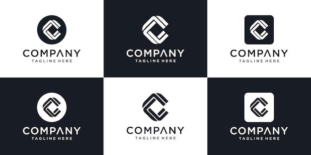 Conjunto de design de logotipo e letra inicial de monograma. ícones
