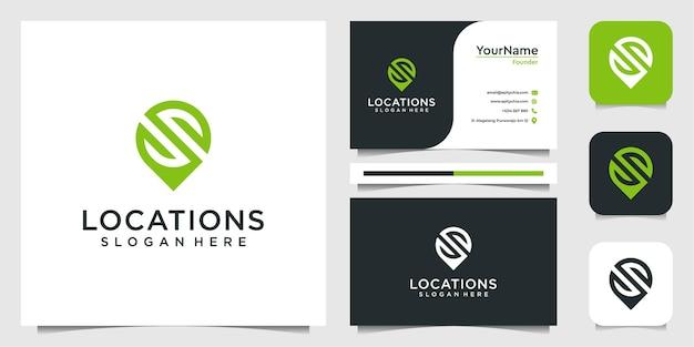Conjunto de design de logotipo e localização