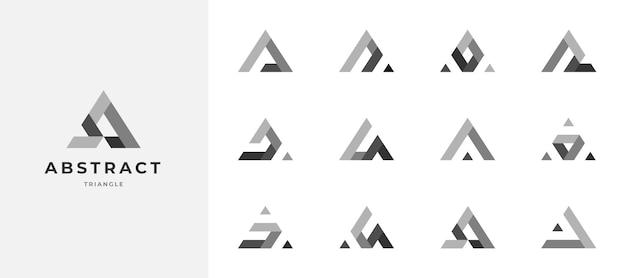 Conjunto de design de logotipo em tons de cinza de triângulo abstrato