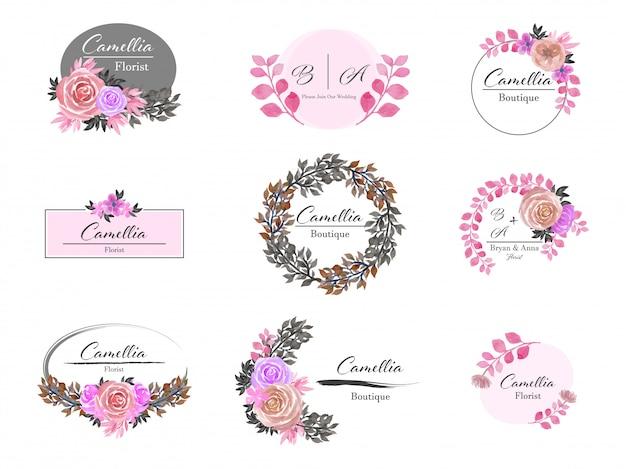 Conjunto de design de logotipo floral premade