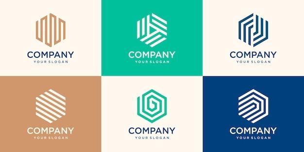 Conjunto de design de logotipo hexágono com conceito de faixa, modelo de logotipo hexágono