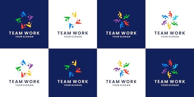 Conjunto de design de logotipo humano, de pessoas e da comunidade