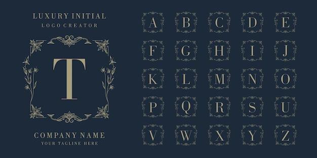 Conjunto de design de logotipo inicial distintivo de luxo