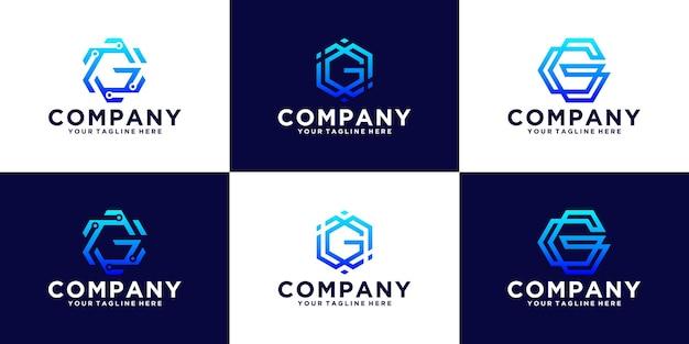 Conjunto de design de logotipo inicial letra g hexágono design para empresas de tecnologia e negócios