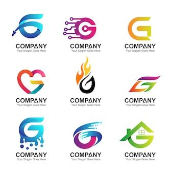 Conjunto de design de logotipo inicial letra g