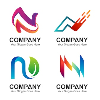 Conjunto de design de logotipo inicial letra n