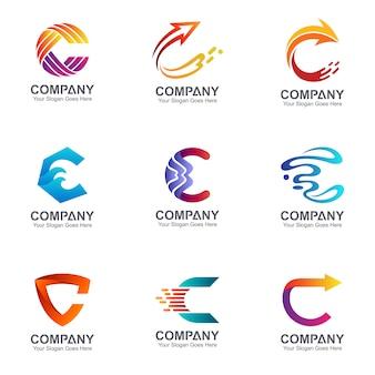 Conjunto de design de logotipo letra c