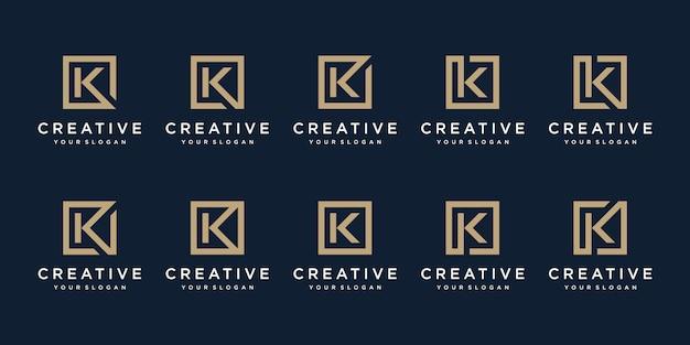 Conjunto de design de logotipo letra k com estilo square. modelo